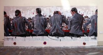 Das Werk des spanischen Künstlers Borondo bestand aus zwei Teilen, dem auf dem Bild zu sehenden Mural, sowie den Portraits im Restaurantschaufenster gegenüber, welche ihr weiter oben bereits gesehen habt.
