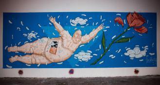 Das Mural des italienischen Künstlers Luca Ledda Illustrator.