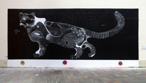"""""""Panther de neige"""", das Mural von Philippe Baudelocque."""